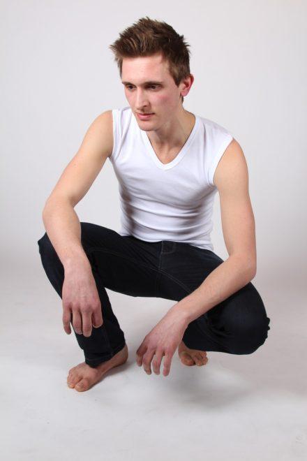 Mouwloos T-shirt met v-hals (wit)