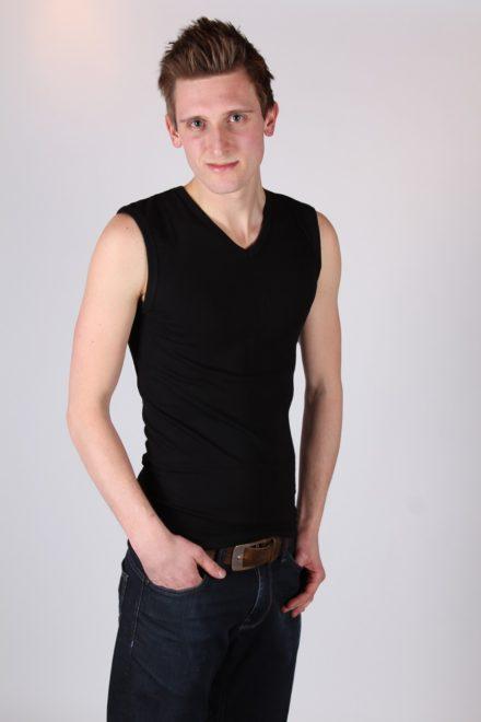 Mouwloos T-shirt met v-hals (zwart)