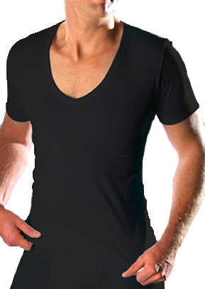 RJ Mannen diepe V-hals t-shirt(zwart)