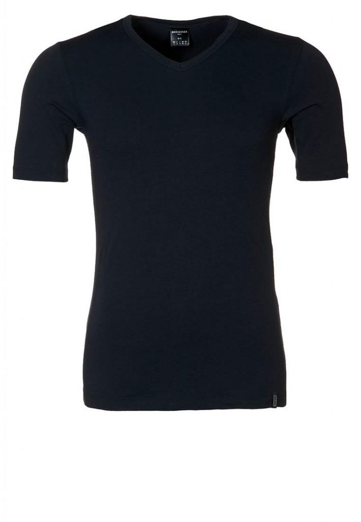 Schiesser Heren T-Shirt 95/5 V-Hals (zwart)