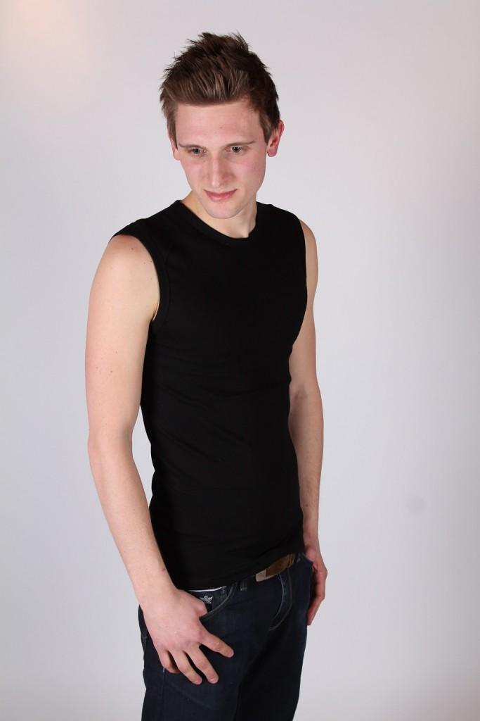 Zwart mouwloos T-shirt