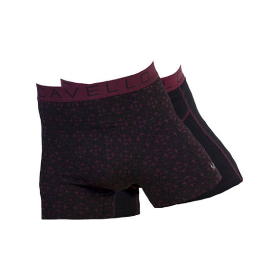 Cavello heren boxershorts 2-pack CMB16004 zwart-bordo