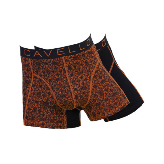 Cavello heren boxershorts 2-pack CMB16005 zwart-oranje