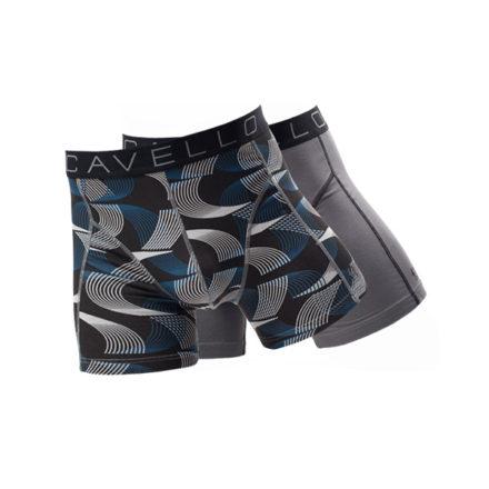 cavello heren boxershorts 2-pack zwart-grijs