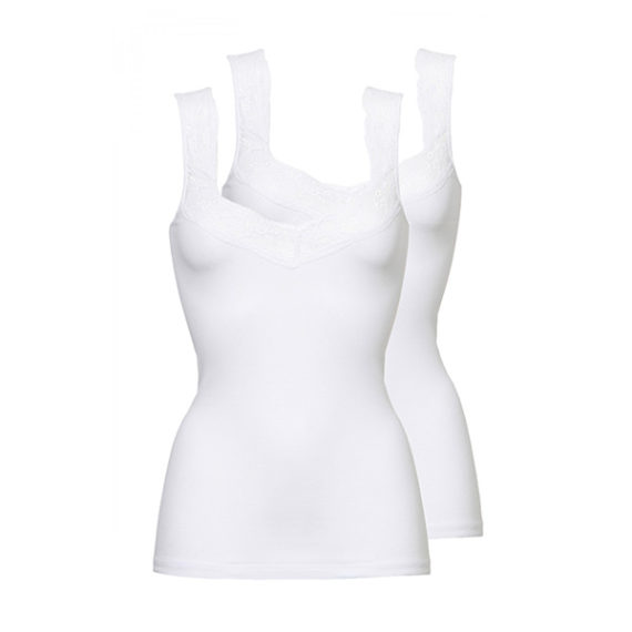 3705 dames shirt lace 2-pack wit
