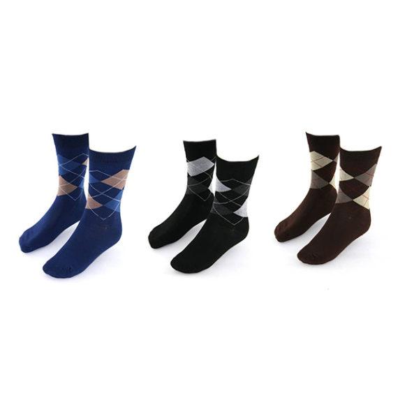 Yves-Dorsey-sokken-3-pack-kleur-ruit-blauw-zwart-bruin